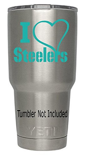 - I Love Heart Steelers Decals(Teal) for Yeti Tumblers (we don't sell tumblers) Decal Football Decal NFL AFC Fans Professional Ozark Trail Tumbler Black White Teal Green Red Decals 3.4