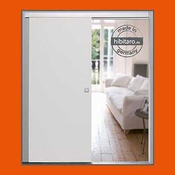 Schiebetür holz weiß  Holz Schiebetür ohne Rahmen weiß 880 x 2035 mm, komplett: Amazon ...