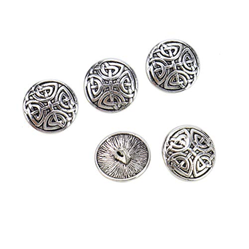 (Monrocco 25Pcs Antiqued Silver Metal Buttons Carved Pattern Round Decorative Buttons for Sewing Crafts)