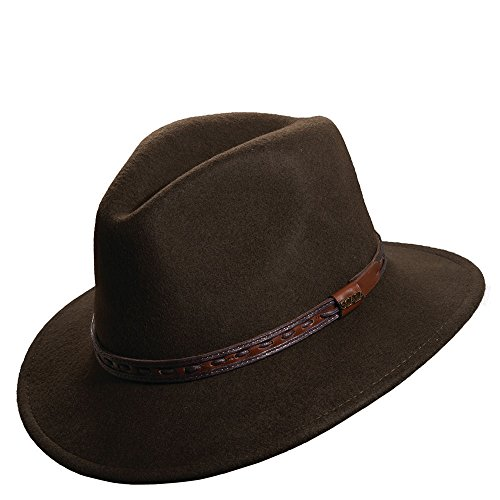 Scala Crushable Wool (Scala Classico Men's Crushable Felt Safari With Leather Hat,Green,M)