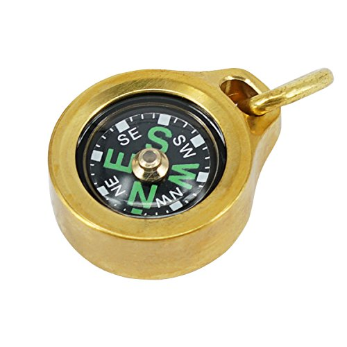 MecArmy CMP Titanium/Brass EDC Compass, Teardrop Shaped Design with Exquisite Engrave, Fluorescence Glow in The Dark Max Runtime of 6 Hours IPX5 Waterproof Free Beaded Chain Worn as Pendant (Brass)