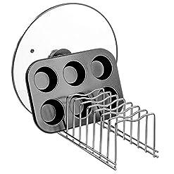 Kitchen Slideep Lid Organizer, Kitchen Dish Plate Storage Organizer and Drying Rack, Bakeware Pot Lid Rack Holder Organizer… pot lid holders