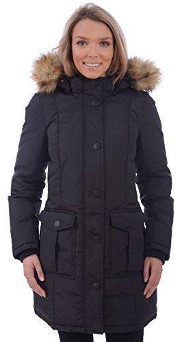 RedX Canada Women's Long Puffer Down Winter Coat With Faux Fur Lined Hood (Black, Medium)