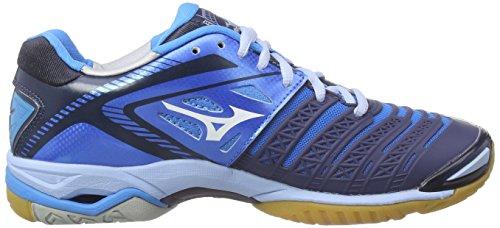 Stealth Wave 3 Damen Mizuno White Blau Divablue Handballschuhe Dressblue EwqHE5