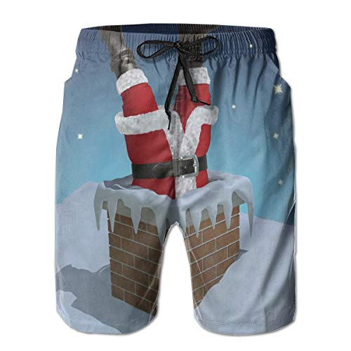 Men Swim Trunks Beach Shorts,Father Christmas Stuck in The Chimney On Snow Covered Rooftop and Starry Night Sky XXL]()