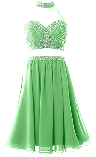 MACloth Women 2 Piece Prom Homecoming Dress Short Chiffon Cocktail Party Gown Menta