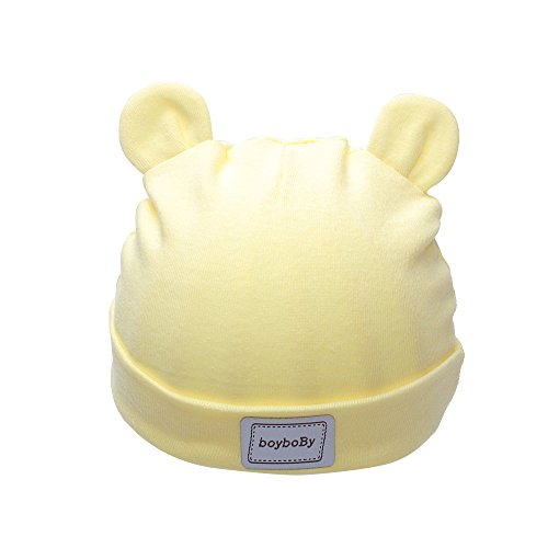 Iridescentlife Cotton Crochet Newborn Hats Solid Ear Baby Beanie Girls Boys (Yellow),One Size (Bonnet Yellow)