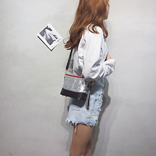 Roscloud@ Bolso bandolera ancho pequeño bolso Bolso personalizado bandolera personalizado color pequeño hombro mujer Bolsa de mensajero ( Color : La Plata ) La Plata