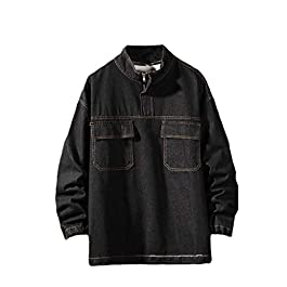 Benficial Men's Autumn Fashion Casual Large Size Tooling Jacket Denim Jacket Top Blouse 2019 Style
