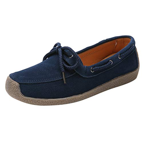 ✔ Hypothesis_X ☎ Autumn Winter Flat Casual Women's Casual Shoes Leather Flat Shoes Loafers Slip On Flock Roman Casual Shoes Blue