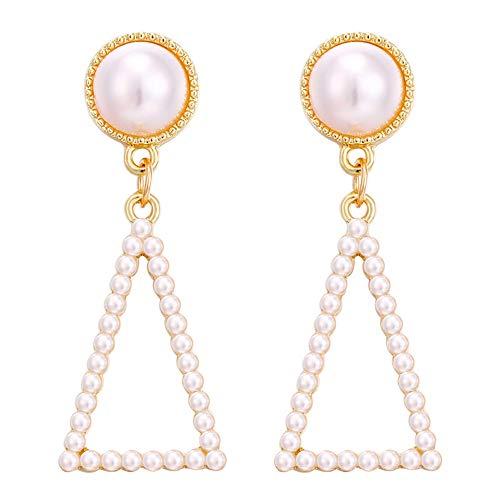 Psunrise Pendientes Pearl Geometric Rectangular Pearl Fivepointed Star Creative Earrings Ladies Jewelry(4.6×2.5cm, gold C)
