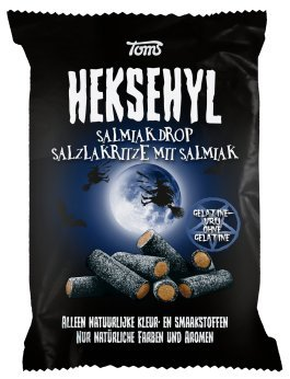 Licorice in Bag - Pingvin Tom Heksehyl Zout (Zoute Salmiak Staafjes/Salty Sticks Filled with Salmiak),10.6 oz