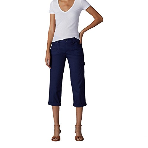 LEE Women's Relaxed Fit Nikki Knit Waist Cargo Capri Pant, Rainstorm, (Relaxed Fit Knit Pants)