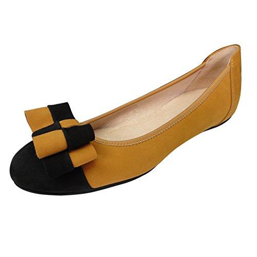 Damen Fashion Ballerinas Flache Schuhe Leder Weiß-Schwarz Lackleder Grün Gelb Nubukleder 37 - 41 0392-2 (Bitte achten Sie darauf, dem linken Bild zu folgen, um die Fußlänge zu bestimmen) Gelb
