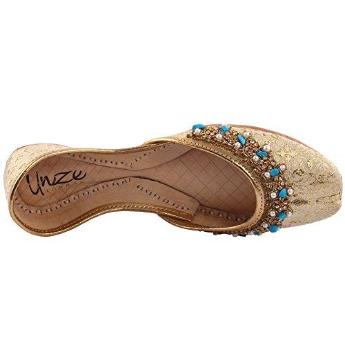 Unze Damen Damen Traditional MATSYA Indischen Casual Leder Flache Khussa Pantoffeln Schuhe UK Größe 3-8 - LS-608 Gold