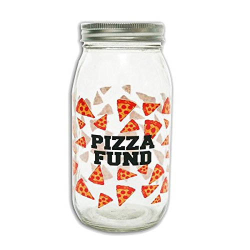 Ankit Money Bank (Pizza Fund) Clear Crystal Glass Printed Quote Collectible piggy bank money bank decor for kids for adults money jar savings bank wide mouth for girls safe coin (Big Mouth Pizza)