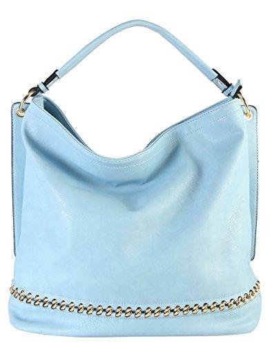 Accented Large Hobo Handbag - Rimen & Co. PU Leather Hobo Large Purse Bag Women Woman Handbag Accented Metal Chain on the Bottom WY-2671 (Sky Blue)
