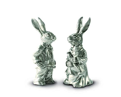 (Vagabond House Pewter Metal Cute Dressed Rabbits Bunnies Salt and Pepper Shakers Set - 4