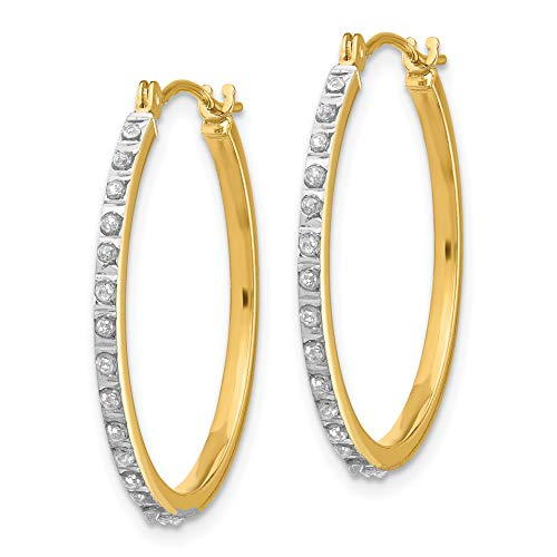 - 14k Yellow Gold Diamond Round Hinged Hoop Earrings w Gift Box. 2mm x 27mm (Color H-I, Clarity SI2-I1)