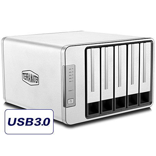 TerraMaster D5-300 USB3.0 (5Gbps) Type C 5-Bay External Hard Drive Enclosure Support RAID 5 Hard Disk RAID Storage (3rd Hard Drive)