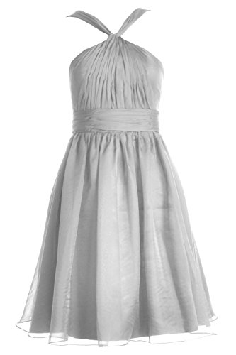 Party Dress Chiffon Short Silber Bridesmaid Knotted Gown MACloth Formal Women Cocktail pwT4qx8T