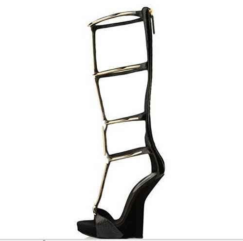 YMXJB Européenne creux en forme de bottes cool avec des chaussures en cuir chaussures catwalk show