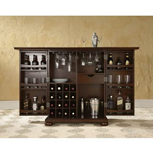Crosley Furniture Alexandria Expandable Top Bar Cabinet - Vintage Mahogany - Vintage Bar Cabinet: Amazon.com