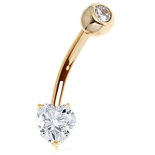 14k Solid Yellow Gold Heart Cubic Zirconia Bezel Navel Belly Ring (Belly Gold Button 14k Ring)