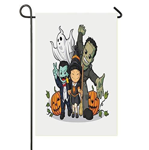 (AnleyGardeflagsU Cute Witch Vampire Frankenstein Ghost and Pumpkins Greeting Halloween Celebration Garden Flags, Premium Quality Yard Holiday and Seasonal Decorative Flags Outdoor Decorative)