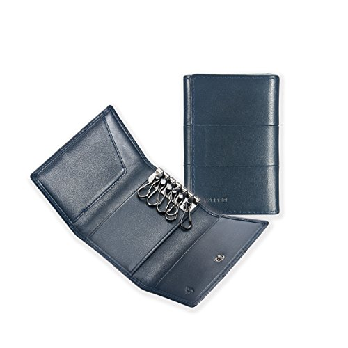Price comparison product image Ikepod Tri-fold Key Wallet / Case [ Italy Made / / Top Leather] Both for Men and Women [ 6 Hooks ]