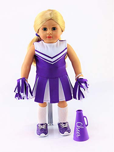 Purple Cheerleader Outfit Cheerleading Uniform with Dress, Bloomers, Poms, Megaphone, Socks, and Shoes | Fits 18