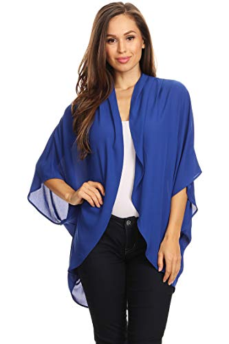 (Casual Solid Color Loose Fit Open Front Cardigan/Made in USA Royal Blue 2XL)