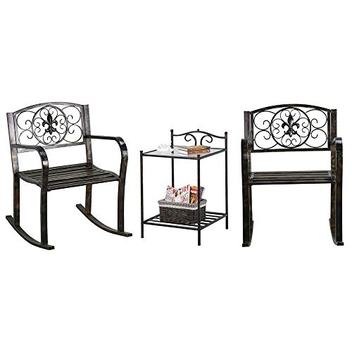 Yaheetech 3-Piece Metal Outdoor Front Porch Rocking Chairs Bistro Sets Patio/Swimming Pool Rocker Chairs with Glass Coffee Table