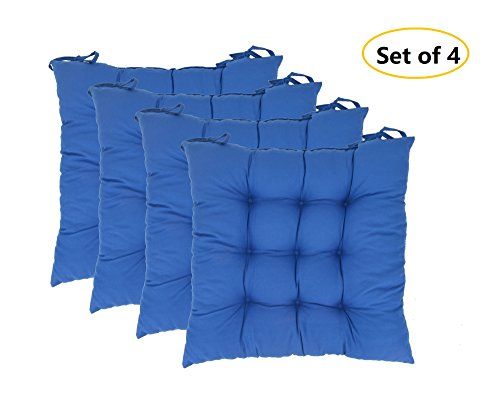 Elfjoy Solid Square Tufted Chair Pads Set of 4 Indoor/Outdoor Cushions Seats With Ties (Blue)