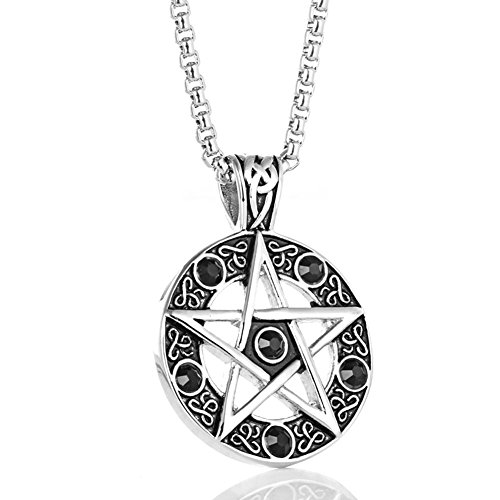 Vintage Stainless Steel Pentacle of Life Pentagram Pagan Pendant Biker Mens Necklace, Black, 24 inch Chain