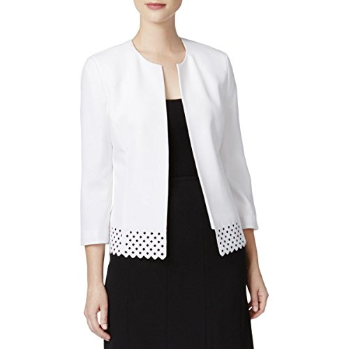 Kasper Women's Stretch Crepe Flyaway Jacket, New Lily White, 14