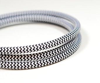 5 m Noir 5//10 m Cordon rond 3 fils en couleurs vives vintage en tissu tress/é c/âble /électrique