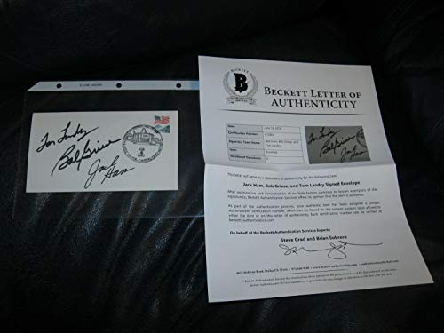 Tom Landry Jack Ham Bob Griese Autographed Signed Memorabilia First Day Cover Beckett Certified