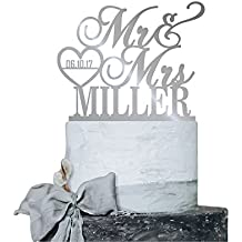 P Lab Personalized Cake Topper Mr. Mrs. Last Name Custom Date 2 Wedding Cake Topper Acrylic Decoration for Special Event Silver Mirror