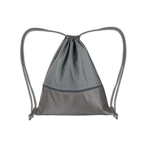 Vbiger Oxford Kordelzug Rucksack Mehrzweck Tagesrucksack faltbare Radfahren Tasche Aufbewahrungstasche Grau