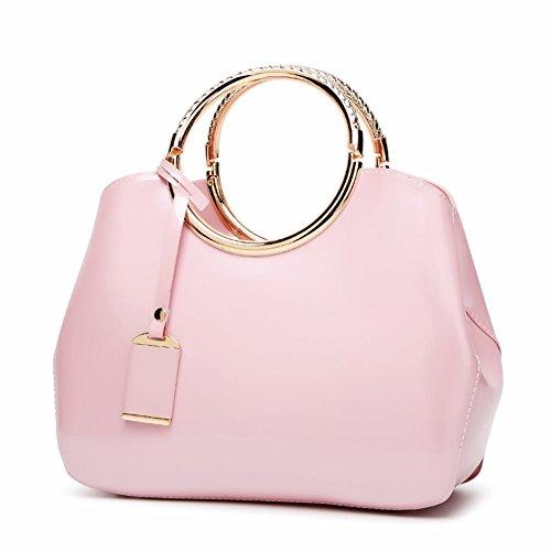 - Handbags Patent Leather Satchel Shoulder Bag With Adjustable Shoulder Strap For Women EB04 Pink