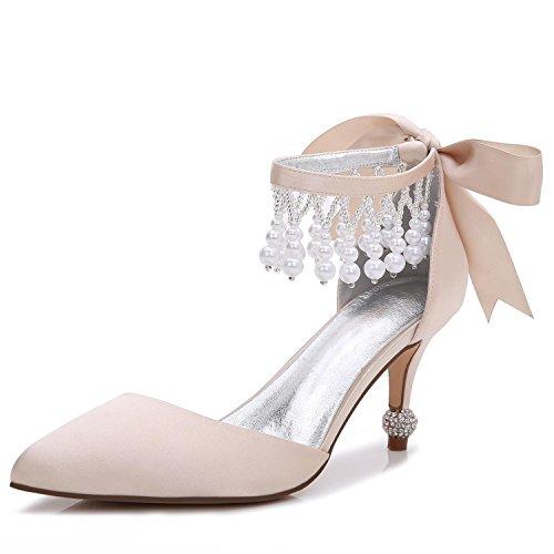 De F17767 Mujer Colgante Vestido Zapatos Y 18 Satinado yc Champagne Primavera Tacón Para Alto L Plataforma Otoño Noche Boda ERYpnHwXq