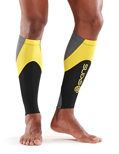 Skins Essentials Compression MX Calf Tights, Black/Yellow, Medium