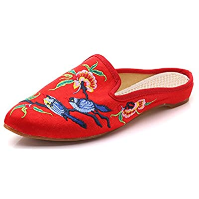 AvaCostume Women's Classic Twinbird Embroidery Pointed Toe Casual Slippers