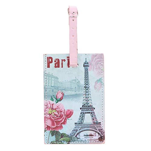 - Paris Luggage Tag Suitcase ID Tag - Pink Flower