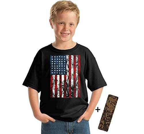 Awkward Styles Awkwardstyles Youth American Flag Distressed T-Shirt 4th July Shirt + Bookmark