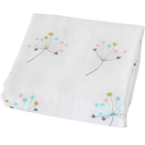 LifeTree Baby Swaddle Blankets, Dandelion Print Swaddle Wrap, Breathable Soft 70% Bamboo 30% Cotton, Muslin Swaddle Blankets Unisex Neutral Receiving Blanket for Boys and Girls, 47 x 47 inches