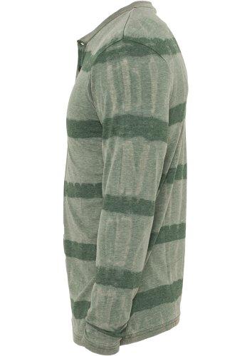 URBAN CLASSICS Fantasy Stripe Burnout L/S Henley TB533 green S