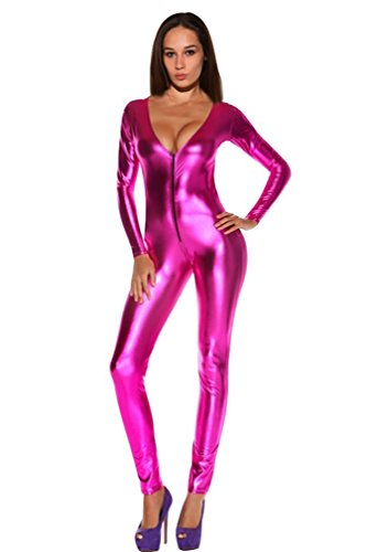 [Elufly Costume Dancer Bright Leather Zipper Front V-neck Jumpsuits Full Length Women's Long Sleeve Club Sexy Bodysuits Party Show] (Racer Girl Romper Costumes)