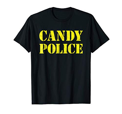Candy Police Shirt Halloween Costume Distressed Text ()